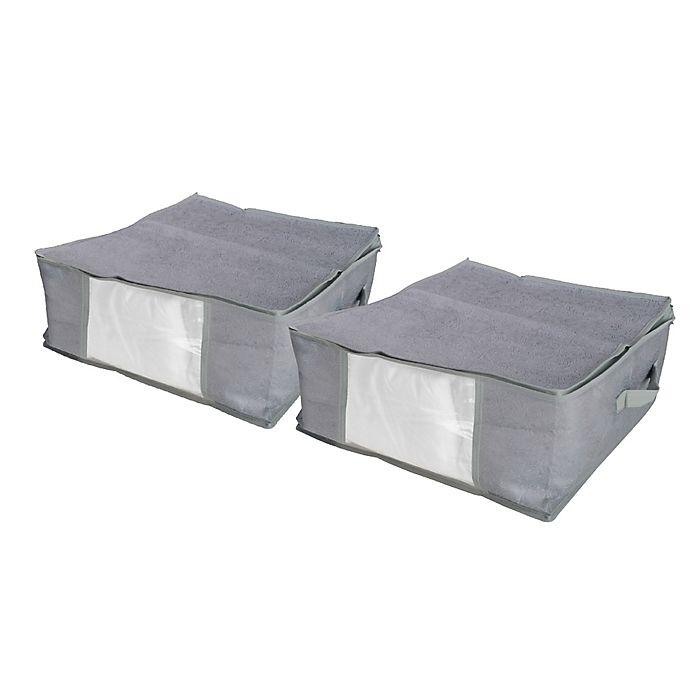 Alternate image 1 for Farberware® Millennium Storage Bag with Window in Grey (Set of 2)