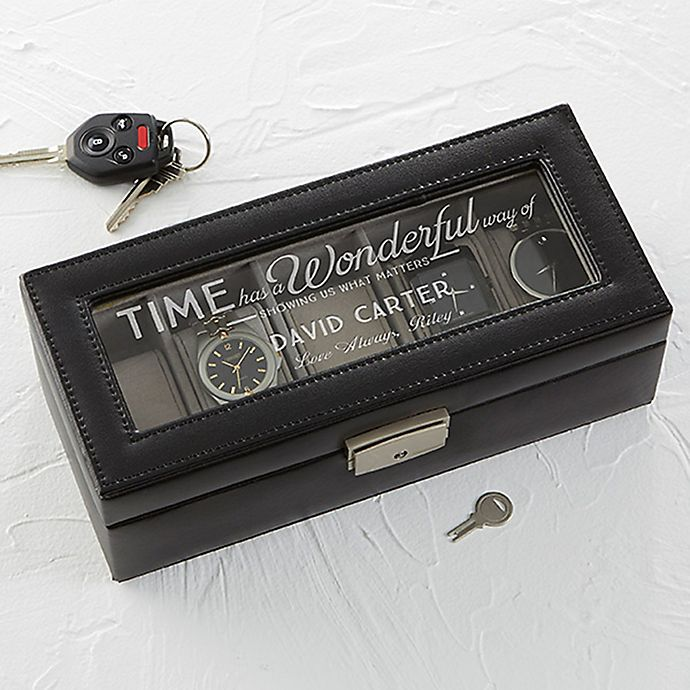 Alternate image 1 for Timeless Message Leather 5-Slot Watch Box