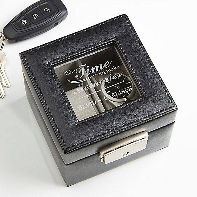 Alternate image 1 for Gift of Time Engraved Leather 2-Slot Watch Box in Black