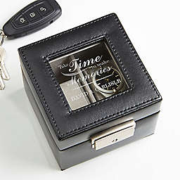 Gift of Time Engraved Leather 2-Slot Watch Box in Black