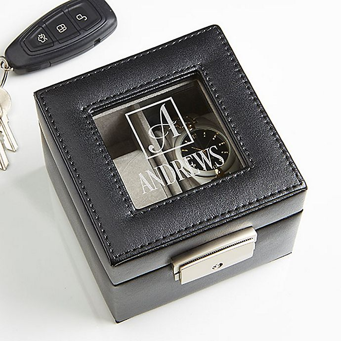 Alternate image 1 for Square Monogram Engraved Leather 2-Slot Watch Box in Black