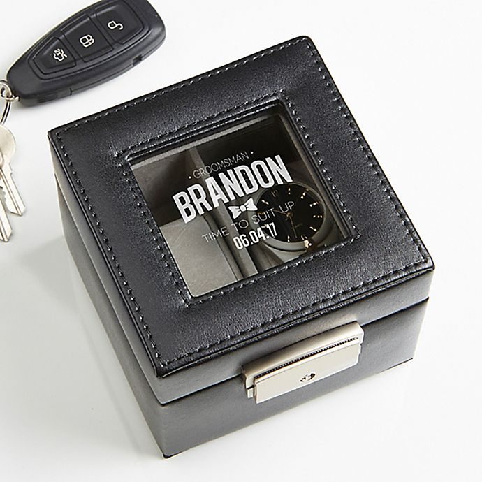 Alternate image 1 for Great Groomsman Engraved Leather 2-Slot Watch Box in Black