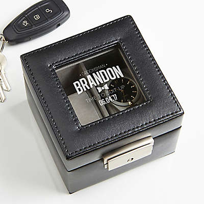 Great Groomsman Engraved Leather 2-Slot Watch Box in Black