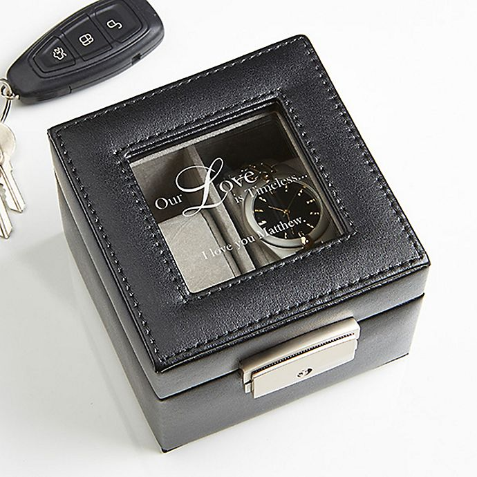 Alternate image 1 for A Time For Love Leather 2-Slot Watch Box