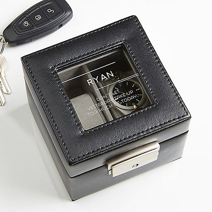 Alternate image 1 for 10 Quotes Leather 2-Slot Watch Box