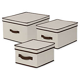 Household Essentials® Canvas Storage Box in Natural/Coffee