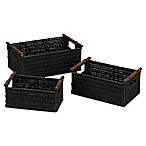 Household Essentials® Decorative Wicker Baskets in Black (Set of 3)
