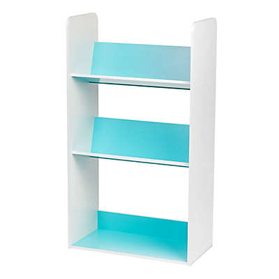 IRIS® 3-Shelf Angled Bookcase in Blue and White