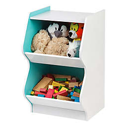 IRIS® 2-Tier Scalloped Storage Shelf in White and Blue