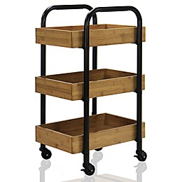 Oceanstar 3-Tier Storage Cart in Espresso