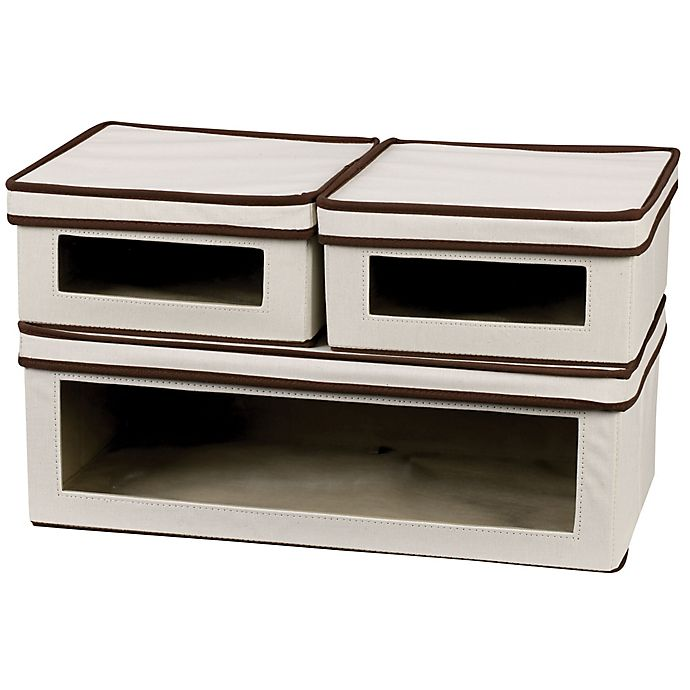 Alternate image 1 for Household Essentials® 3-Piece Vision Storage Box Set in Natural/Coffee