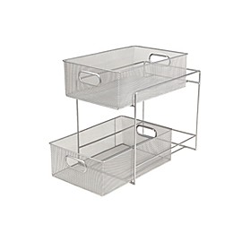 Mind Reader 2-Tier Mesh Storage Baskets in Silver
