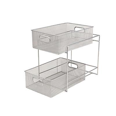 Mind Reader 2-Tier Mesh Storage Baskets in Silver