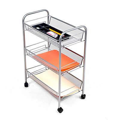 Mind Reader 3-Shelf Metal Mesh Storage Cart in Silver