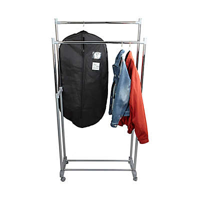 Mind Reader Adjustable Double Garment Rack in Silver