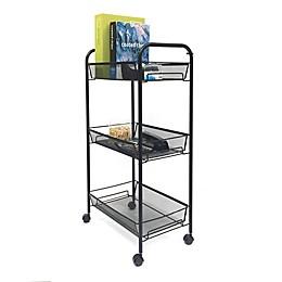 Mind Reader 3-Shelf Metal Mesh Storage Cart in Black