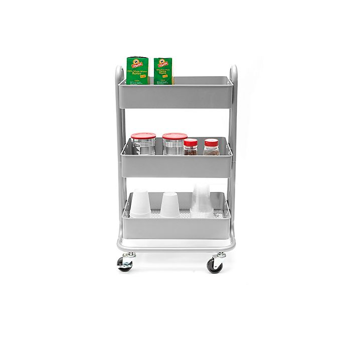 Alternate image 1 for Mind Reader 3-Tier Utility Cart in Silver