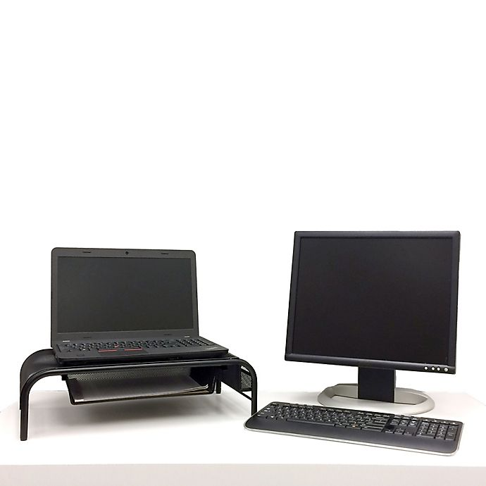 Alternate image 1 for Mind Reader Monitor Stand with Drawer in Black