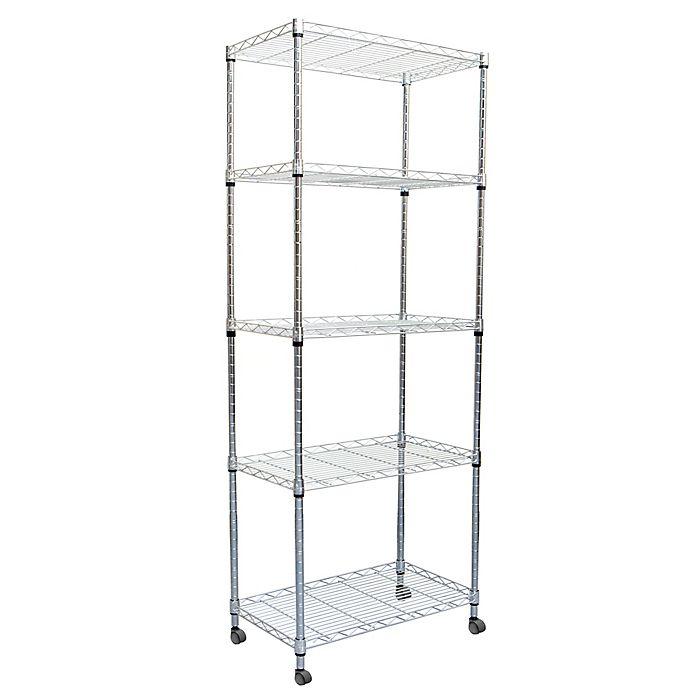 Alternate image 1 for Mind Reader 4-Tier Metal Storage Rack with Wheels in Silver