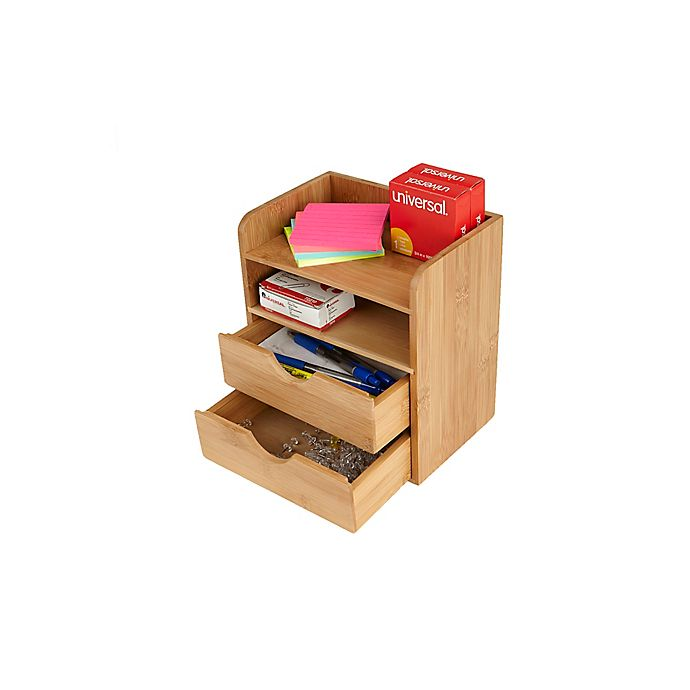 Alternate image 1 for Mind Reader 4-Tier Bamboo Organizer with 2 Drawers in Brown