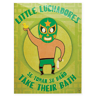 """Astra Art """"Little Luchadores Bath"""" Wall Art"""