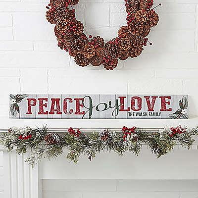 Peace, Joy, Love Wooden Sign
