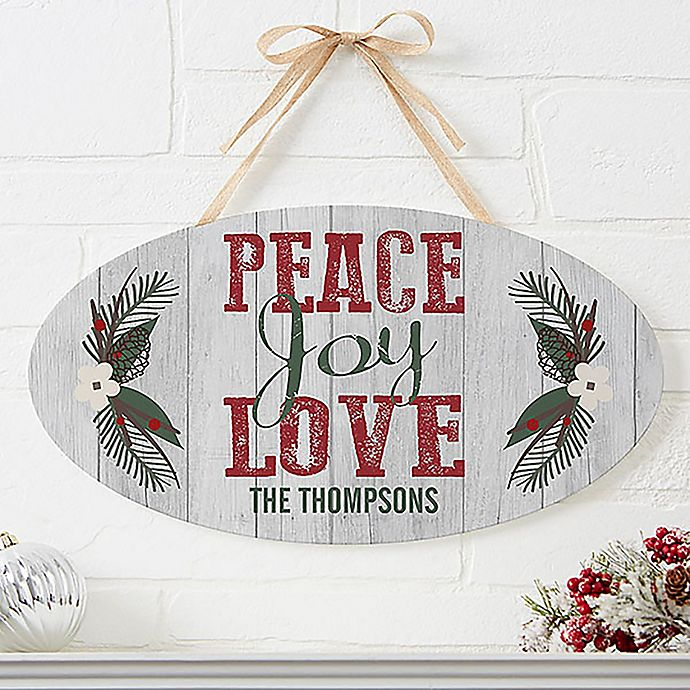 Alternate image 1 for Peace, Joy, Love Oval Wooden Sign