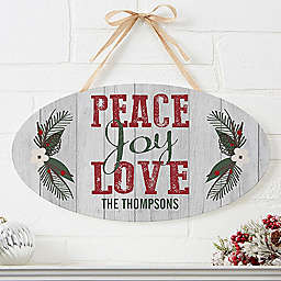 Peace, Joy, Love Oval Wooden Sign
