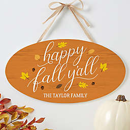 Happy Fall Y'All Oval Wood Sign