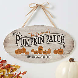 Pumpkin Patch 15.5-Inch x 8.5-Inch Oval Wood Sign