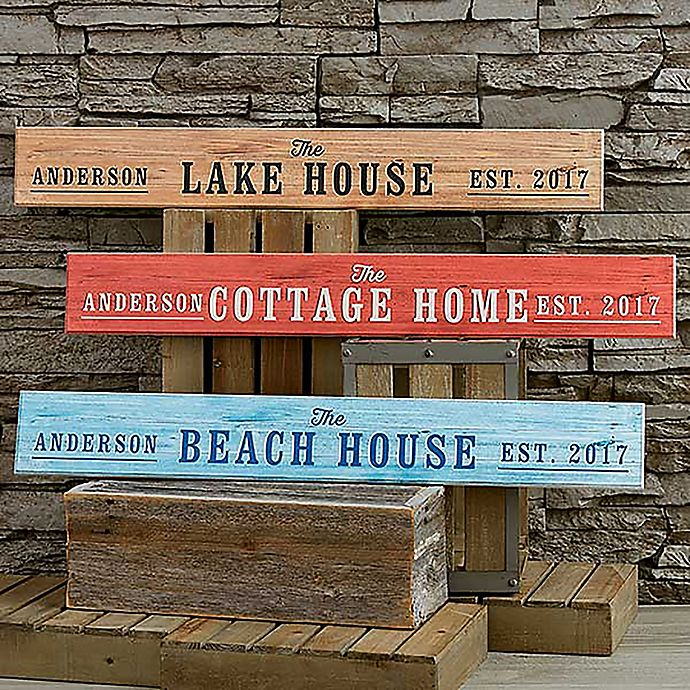 Alternate image 1 for Home Away From Home 29-Inch x 4-Inch Personalized Wooden Sign