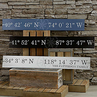 Latitude & Longitude Wooden Sign