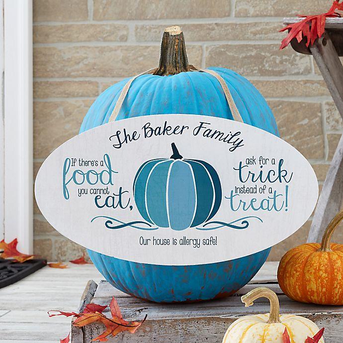 Alternate image 1 for Halloween Teal Pumpkin Oval Wood Sign