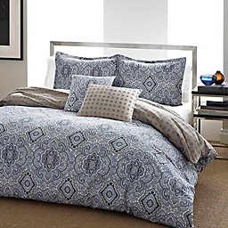 City Scene Milan Reversible 3-Piece Full/Queen Comforter Set in Blue