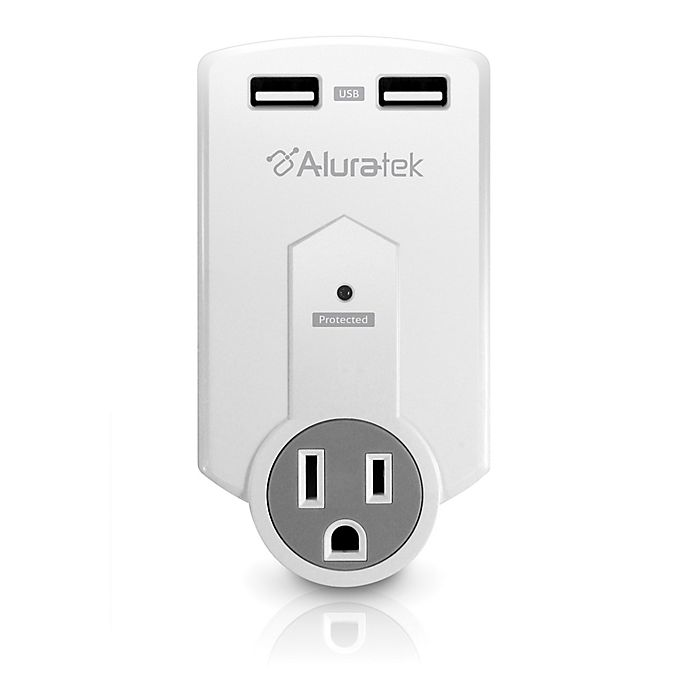 Alternate image 1 for Aluratek Mini 1-Outlet Surge Protector & Dual USB Charging Station in White