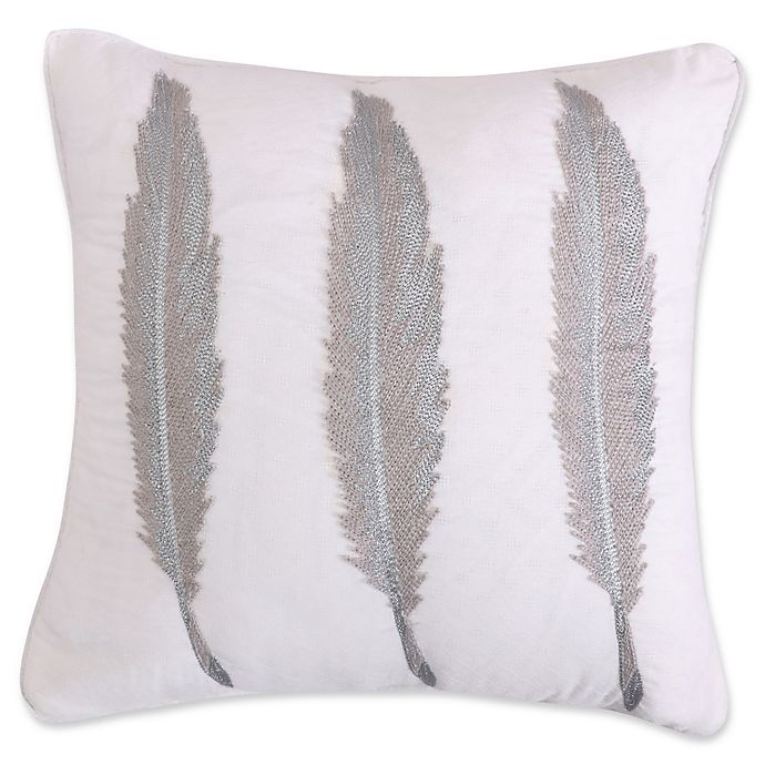 Alternate image 1 for Levtex Home Marais Feathers Square Throw Pillow in White/Silver