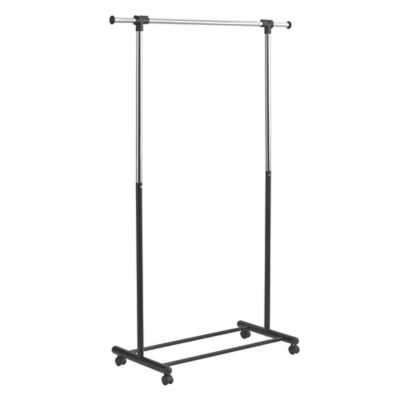 Portable And Expandable Garment Rack In Black Chrome Bed