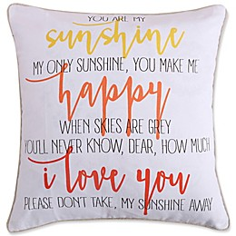 Levtex Home Kaitlyn Coral Sunshine Square Throw Pillow in White