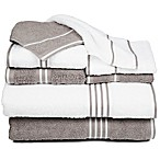 Nottingham Home Rio Bath Towels in White/Silver (Set of 8)