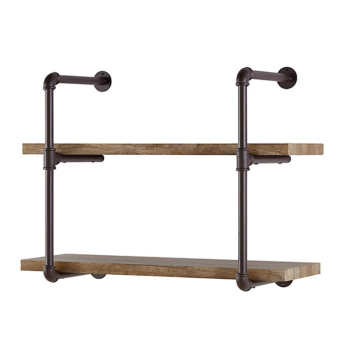 Alternate image 1 for Danya B.™ 2-Tier Industrial Pipe Wall Shelf