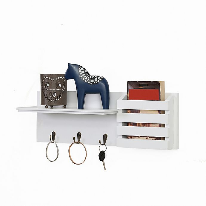 Alternate image 1 for Danya B.™ Utility Shelf with Pocket and Hanging Hooks in White
