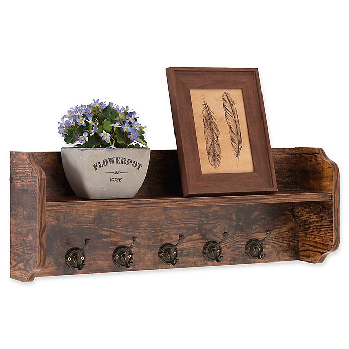 Alternate image 1 for Danya B™ Wood Utility Wall Shelf with Hooks in Aged Pine