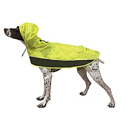 Ultra Paws Pooch Pocket Dog Raincoat in Charcoal/Lime
