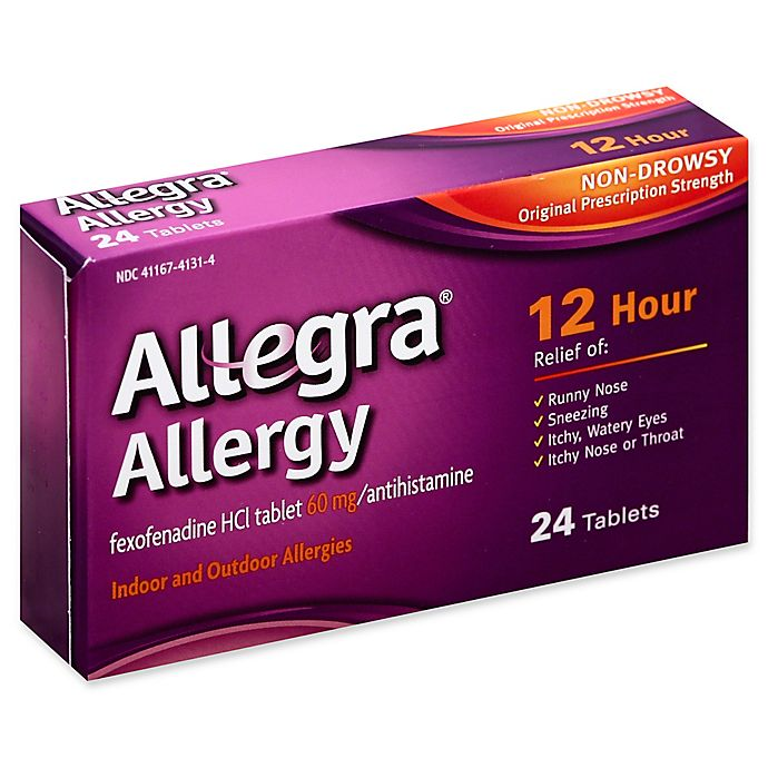 Alternate image 1 for Allegra 24-Count 60 mg.12 Hour Allergy Relief Tablets