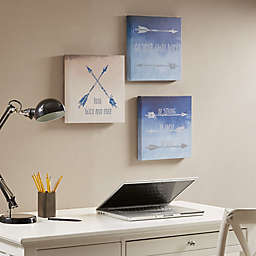 Intelligent Design Sentiment Arrows 3-Piece Canvas Wall Art in Blue