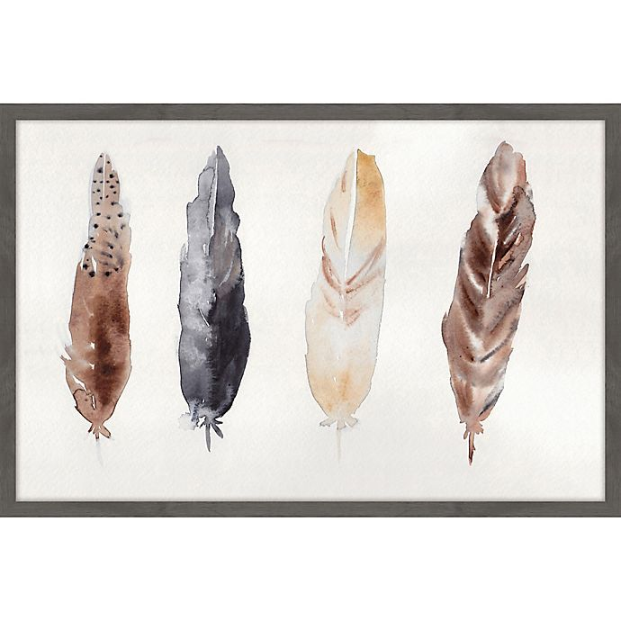 Alternate image 1 for Marmont Hill 24-Inch x 16-INch Quatre Plumes Framed Wall Art