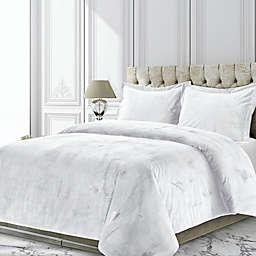 Tribeca Living Venice 3-Piece Velvet Queen Duvet Cover Set in White