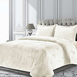 Tribeca Living Venice 3-Piece Velvet Duvet Cover Set
