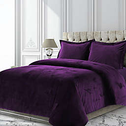 Tribeca Living Venice 3-Piece Velvet King Duvet Cover Set in Purple