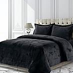 Tribeca Living Venice Velvet Queen Duvet Cover Set in Black